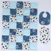 Fun Trucks with Blue Accent Fabrics Baby Rag Quilt with Matching Burp Cloth and Bib