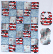 Fun Pirate Print with Red and Blue Nautical Accent Fabrics Baby Rag Quilt with Matching Burp Cloth and Bib