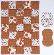 Basket Print with Sports and Plaid Accent Fabrics Baby Rag Quilt with Matching Burp Cloth and Bib