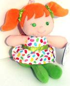 "18cm Girl Plush Rattle ~Green ""Prestige Baby"""