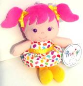 "18cm Girl Plush Rattle ~Yellow, ""Prestige Baby"""