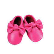 Unique Baby 100% Real Cow Leather Bow Moccasins Anti-Slip Tassels Prewalker Toddler Shoes (XS