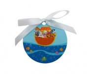 Painted Wooden Blue Noah's Ark Crib Medal Approx 10cm Diameter