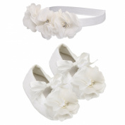 """""""Petals Collection"""" Ivory Lace Baptism Christening Shoe and Headband Set for Baby Girl"""