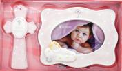 Girl Baby's Baptism 10cm X 15cm Frame & 18cm Cross Gift Set - PINK