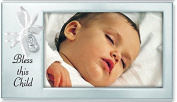 BLESS THIS CHILD - BABY Photo Frame - SATIN Silver STEEL 20cm X 10cm KEEPSAKE for NEW PARENTS Infant - CHRISTENING Shower GIFT Newborn