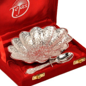 Little India Oval Shape Bowl With Spoon 16.51 Cm X 11.43 Cm Silver