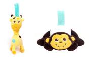 Babee Talk Eco-buds Take-Along Pals - Giraffe & Monkey Set