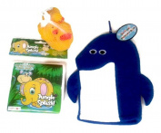 Bathtub Whale of Fun Unisex Baby Shower or New Baby Gift 3 Piece Bundle - Mommy and 2 Babies Rubber Duck; Blue Whale Bath Puppet Mitt; Plastic Scrub-Bubble Bath Book!