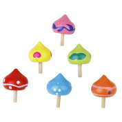 6x Heart-Shaped Wooden Gyro Peg Spinning Tops