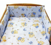 "BABY TODDLER JUNIOR BED COT BUMPER 35 cm x 150 cm (13.8"" x 59"") Blue Bear"