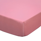 Gia Coral Pink Solid Cotton Crib Fitted Sheet