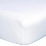 "Linteum Textile 100% Cotton Premium Jersey Crib Sheet White 70cm x 130cm x 9"""