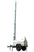 Mobile Trailer w/ 9.1m Telescoping Mast - Enclosed Trailer for Generators/Equipment - Fold Over Tower