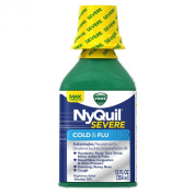 Vicks 44 Nyquil Severe Cold and Flu Liquid Original Flavour, 12.0 Fluid Ounce
