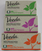 Veeda - 100% Natural Cotton Tampons - Applicator Free - Bundle of 3 Sizes