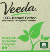 Veeda - Regular Tampons with Applicator - 100% Natural Cotton - 16 Count Boxes
