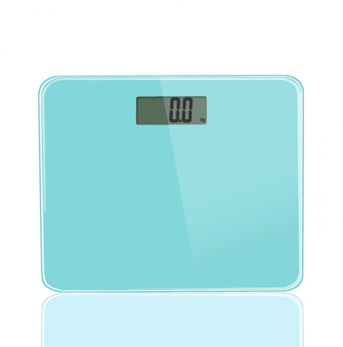 BlueBerry® Precision Digital Bath Scale (180kg Edition), In Tempered Glass With Step-on Activation. (Blue)