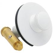 LASCO 03-4889 Brass Bathtub Drain Strainer with Push Pull Stopper and 1-1/4 Fine Thread x 3.8cm Course Thread Bushing, White Finish