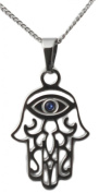 Hamsa Pendant With Evil Eye Judaic Necklace Kabbalah Jewellery