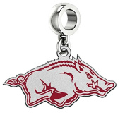 Arkansas Razorbacks Silver Logo and School Colour Charm Fits All Pandora Style Charm Bracelets