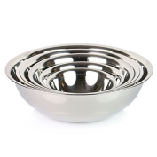 (Set of 6) SafePro Mixing Bowls Standard Weight Stainless Steel, Mirror Finish, 3/4, 11/2, 3, 4, 5, and 7.6l
