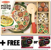 Pizza Party Wooden Play Set + FREE Melissa & Doug Scratch Art Mini-Pad Bundle [01670]