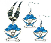 Puzzled Aqua Pirate Wild Style Necklace and Earrings