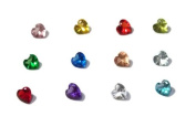 Set of 12 Crystal HEART Birthstones Floating Charms
