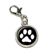 Graphics and More Paw Print Pet Dog Cat White on Black Antiqued Bracelet Pendant Zipper Pull Charm with Lobster Clasp