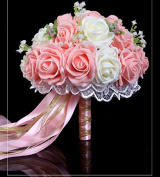 Hestian 25cm Purple and White Roses with Pearls Chain , Beautiful Ribbon Bridal Wedding Bouquet Silk Rose Hand Tie (30pcs Roses)