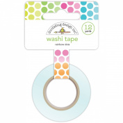 Doodlebug Washi Tape, 15mm by 12-Yard, Rainbow Dots