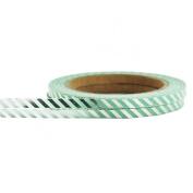 Little B 100357 Decorative Foil Paper Tape, Silver Diagonal Stripe
