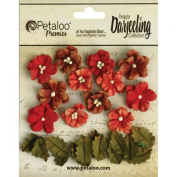 Petaloo Darjeeling Teastained Petite Flowers for Scrapbooking, 1.6cm and 2.2cm , Red, 24-Pack