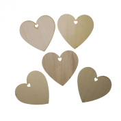 50 Plain Wooden Heart Shape Craft Tags Plaques Decorative 100mm by Kurtzy TM