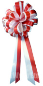 Red & White Striped Wedding Pull Bows with Tails for Church Pews and Chairs - 20cm Wide, Set of 6