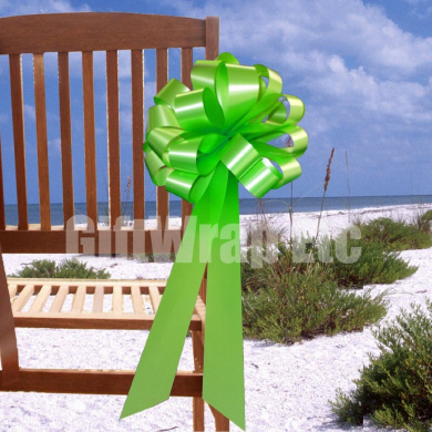Citrus Lime Green Pull Bows with Tails - 20cm Wide, Set of 6
