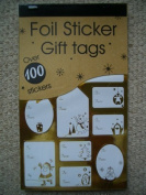 100 x Christmas Xmas Foil Silver & Gold Sticker Gift Tags