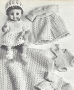 Vintage Crochet PATTERN to make - 33cm - 46cm Doll Clothes Layette Dress Gowns Suit. NOT a finished item. This is a pattern and/or instructions to make the item only.