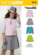 Simplicity Creative Patterns New Look 6241 Girls' Skirts and Knit Tops, A