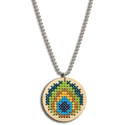 Dimensions Crafts 72-74067 Large Circle Peacock Pendant Counted Cross Stitch Kit
