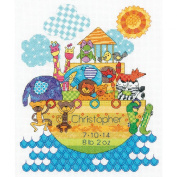Dimensions Crafts 70-74066 Noah's Animals Birth Record Counted Cross Stitch Kit