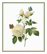Flower Illustration of a Tea Rose Counted Cross Stitch Chart/Graph Pierre-Joseph Redoute's