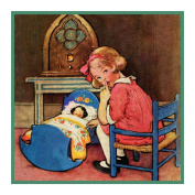 Young Girl Rocking Baby Doll By Jessie Willcox Smith Counted Cross Stitch Chart