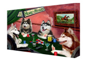 House of Siberian Huskies Dogs Playing Poker Canvas 11 x 14