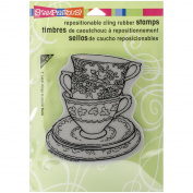 Stampendous Cling Rubber Stamp, Teacup Trio