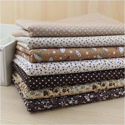 Fabric Squares DIY Cotton Brown Series 7 Assorted Pre Cut Charm Quilt for Fat Quarters 50cmx50cm Colour in Brow