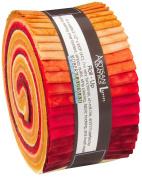 Lunn Studios PRISMA DYES LAVA FLOW BATIKS Roll Up 6.4cm Precut Cotton Fabric Quilting Strips Jelly Roll Assortment Robert Kaufman RU-372-40