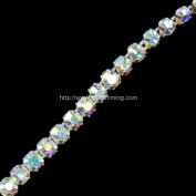 AB RHINESTONE BAND W/SILVER METAL POINTED SETTINGS SELLING PER YARD