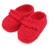 FuzzyGreen®Red Baby Newborn Infant Girl Boy Hand Knitting Crochet Pre Walker Comfortable Toddler Buckle Shoes Socks Booties+Gift